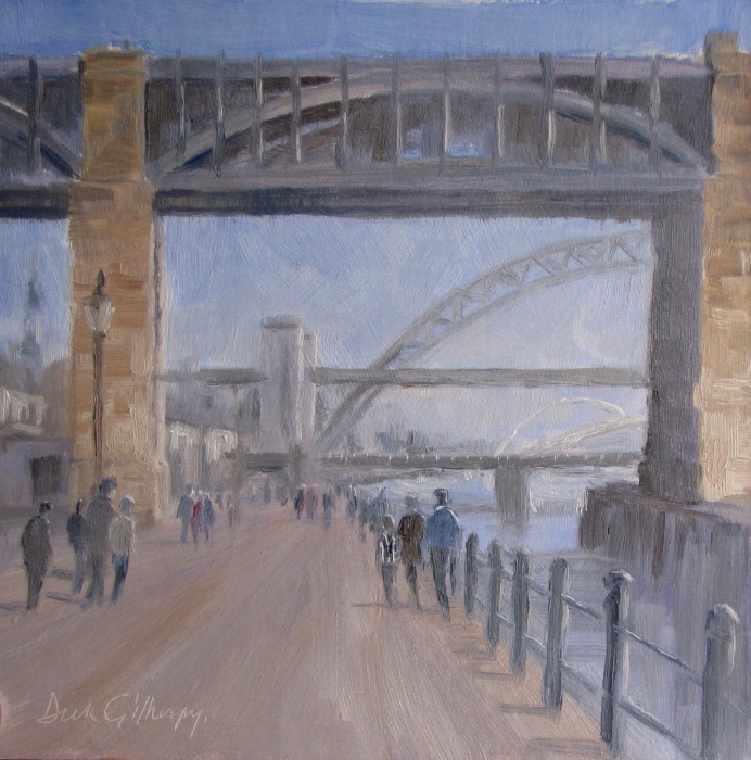 Bridges,  original  football painting, Dick Gilhespy
