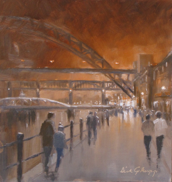 Quayside Stroll,  original  football painting, Dick Gilhespy