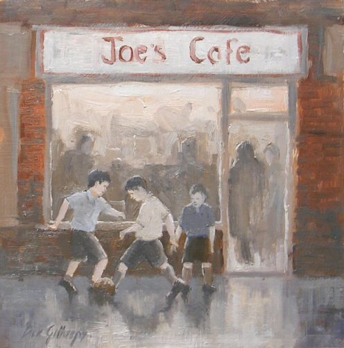 Joe's Cafe,  original  football painting, Dick Gilhespy
