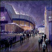 Night Match, original football painting, Dick Gilhespy