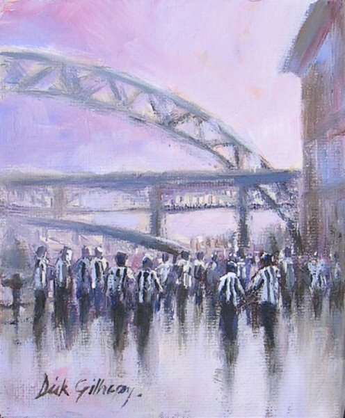 Pint on the Quayside,  original  football painting, Dick Gilhespy