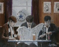'Pre Match',  original  football painting, Dick Gilhespy