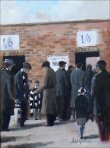 Scarf Seller:NUFC supporters painting by Dick Gilhespy