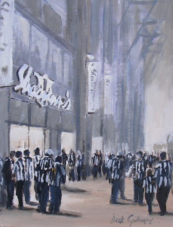 Shearers,  original  football painting, Dick Gilhespy