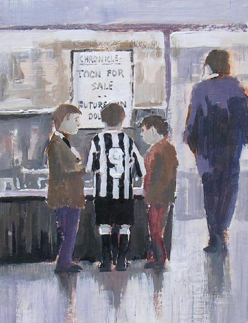 This is Serious,  original  football painting, Dick Gilhespy